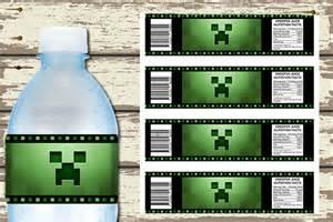 Printable minecraft water bottle labels invite studioinvite studio