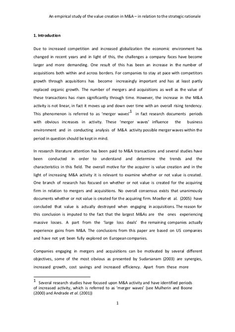 research paper on merger and acquisition pdf research on quot mergers and acquisitions quot