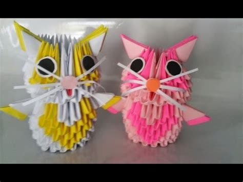 How To Make A 3d Origami Cat - 3d origami small cat con m 232 o origami 3d poppy9011