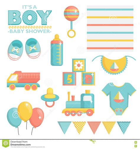 event design elements it is a boy baby shower set stock vector image 73056714