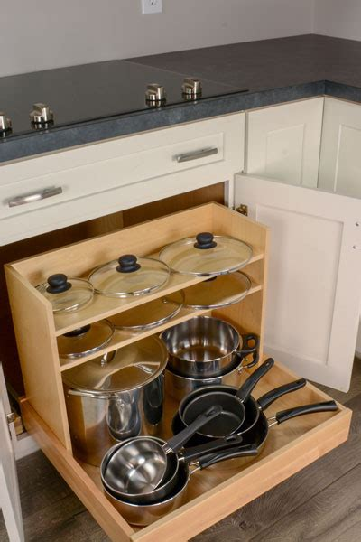 pots pans organizer cooktop base cabinet tray