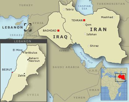middle east showing iraq iran  lebanon middle