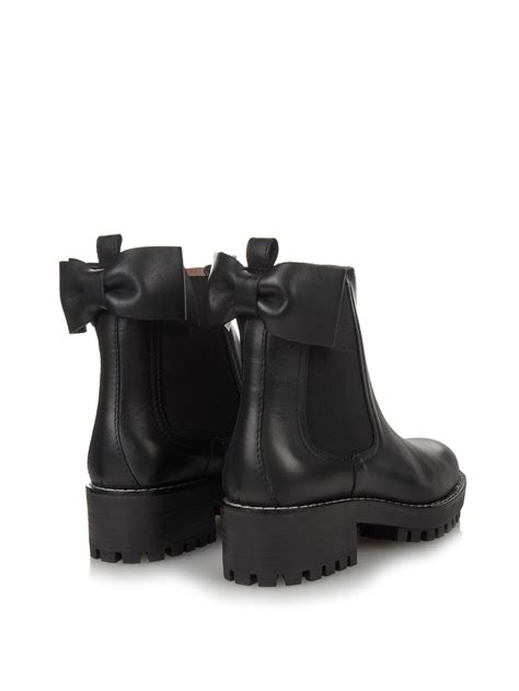 Heels Chelsea Bow Sandals by Lyst Valentino Beatle Bow Leather Chelsea Boots In Black