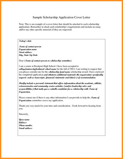 Application Letter Cover by 8 Scholarship Application Letter Sle Pdf Mystock Clerk