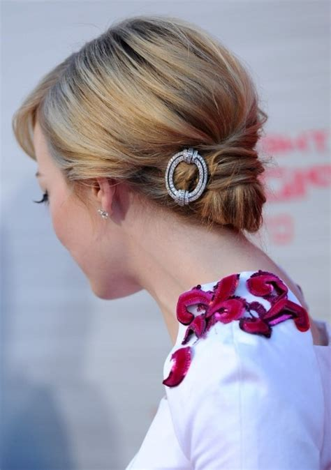 fancy chin length hair chic faux chignon on chin length hairstyle emma stone