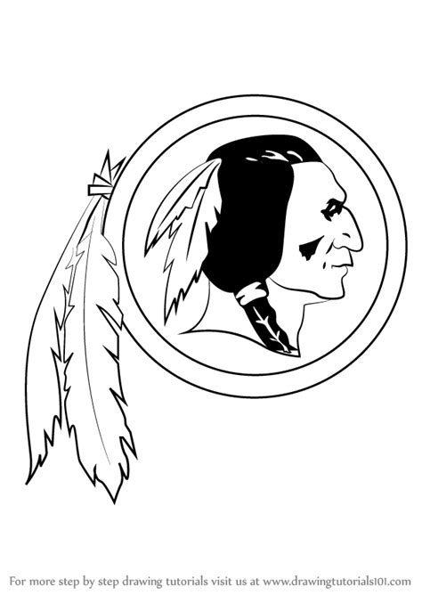 step by step how to draw washington redskins logo