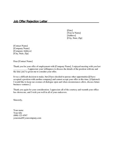 offer rejection letter template best photos of sle rejection letter offer