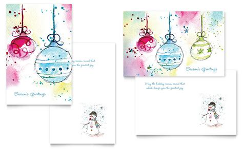 Whimsical Ornaments Greeting Card Template Word Publisher E Card Template