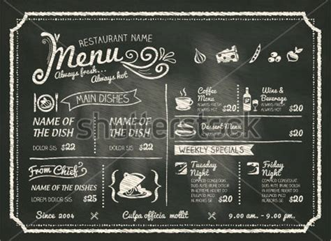 41 Chalkboard Menu Design Free Premium Templates Chalkboard Menu Template Free