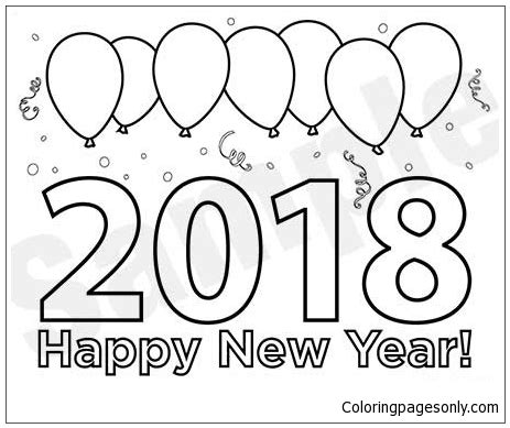 coloring page new year 2018 2018 new years eve coloring page free coloring pages online