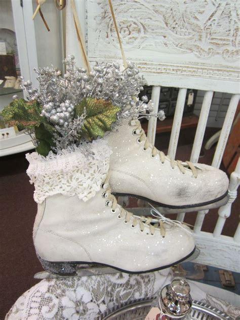 glittery ice skates for winter decorating judy b s shabby