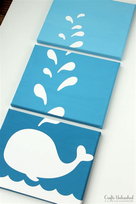 diy canvas crafts diy whale canvases step by step crafts unleashed