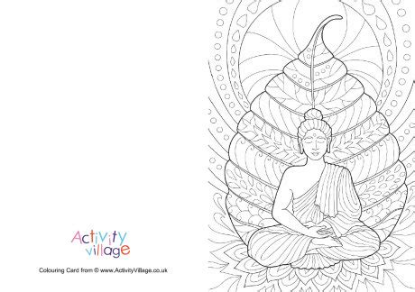 vesak card templates buddha colouring card