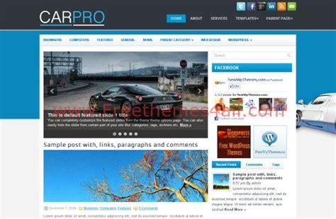 wordpress themes free blue free news blog wordpress cars theme template download