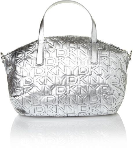 Quilted Canvas Bag Metallic Collection From Series by Dkny Quilted Logo Metallic Tote Bag In Silver Metallic
