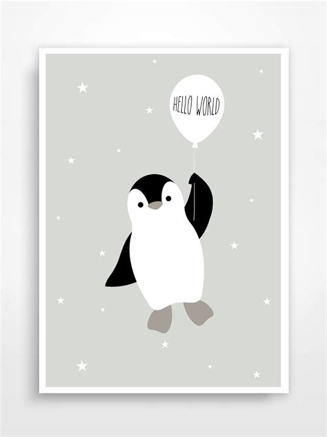 affiche chambre enfant affiche d 233 co pour chambre d enfant pingouin baby