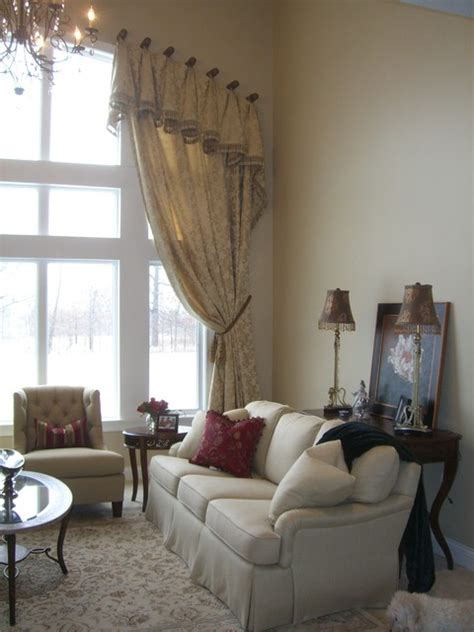 formal living room window treatments formal great room with arched window treatment