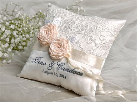 How To Make A Ring Pillow For A Wedding by Lace Wedding Pillow Ring Bearer Pillow Embroidery Names