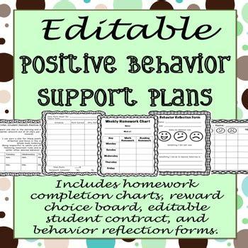 Editable Positive Behavior Support Plan Templates By Ashley Brennan Behavior Support Plan Template
