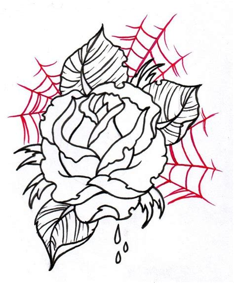 tattoo sketches neo traditional rose outline 2 by
