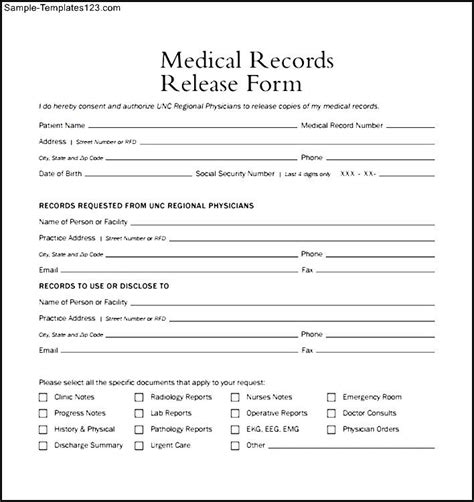 medical records release form exle sle templates