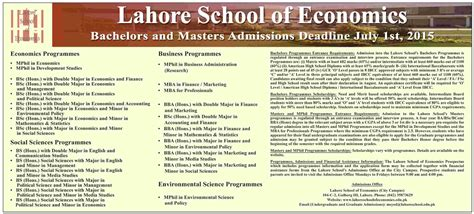 Lse Mba Admission Requirements by Lahore School Of Economics Lse Admissions 2015 Form Last Date