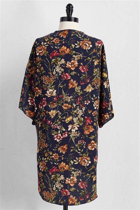 Print Kimono Cardigan by Versona Floral Print Kimono Cardigan