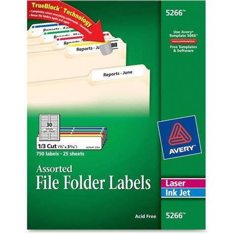 Avery File Folder Label Template 5266
