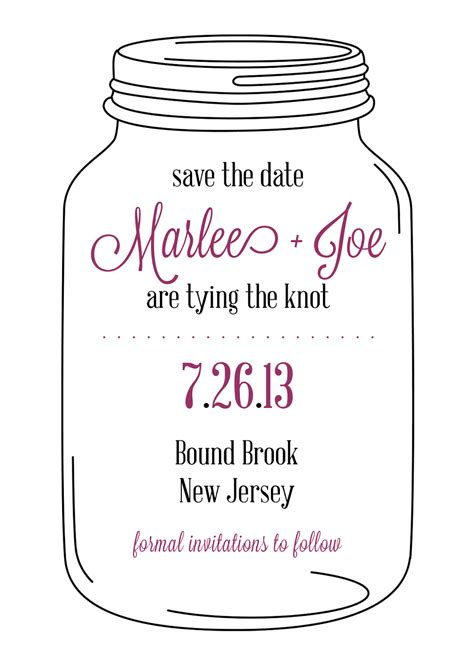 sugar queens mason jar save the date cards