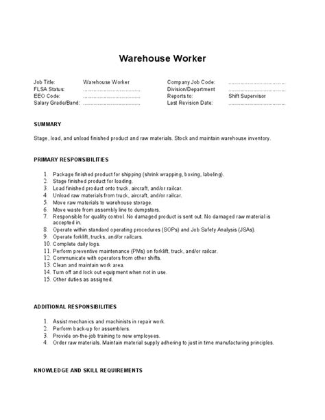 Job Resume Descriptions by Warehouse Worker Job Description Hashdoc