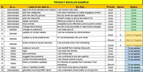 product backlog template excel product backlog excel template free project