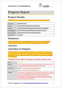 Writing Induction Plans And Reviewing Progress by Progress Report Template Tools4dev
