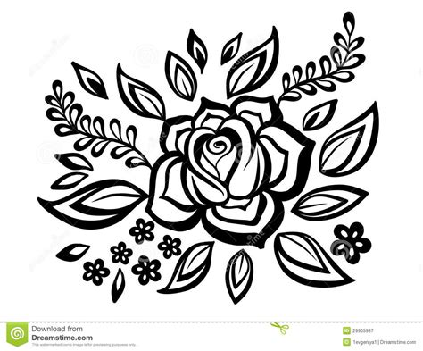 black and white flowers and leaves design element with