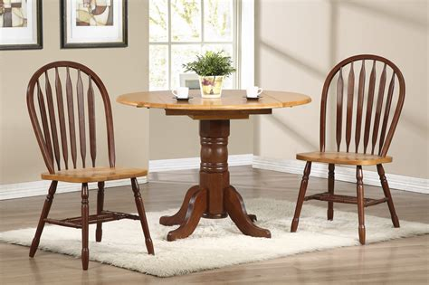 sunset trading 3pc 42 round drop leaf dining set with arrowback chairs sunset trading