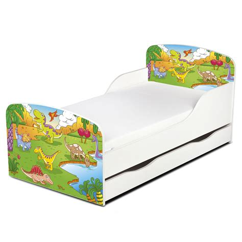 dinosaur toddler bed dinosaurs mdf toddler bed with storage deluxe mattress