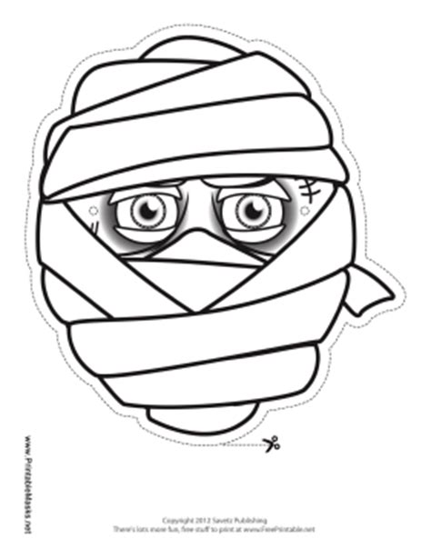 printable mummy eyes printable male mummy mask to color mask