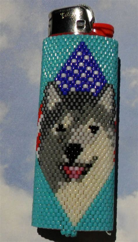 how to make beaded lighter covers items similar to usa flag wolf beaded lighter cover on etsy