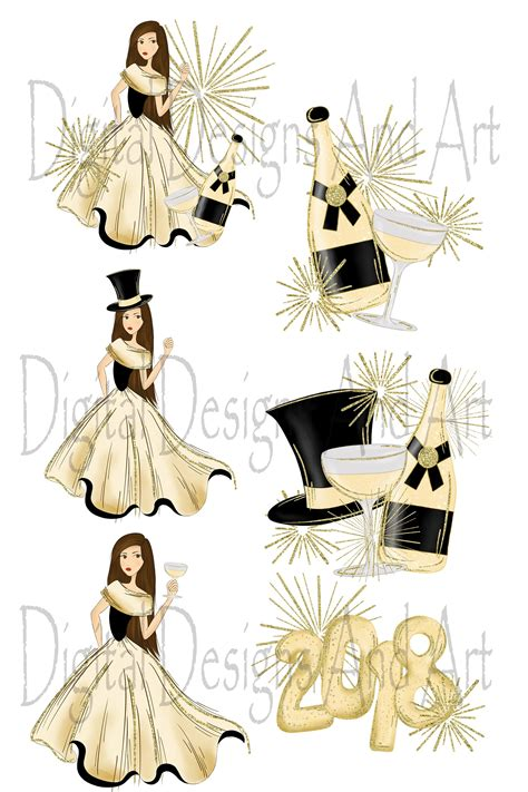 fashion illustration happy new year happy new year by digital designs and a design bundles