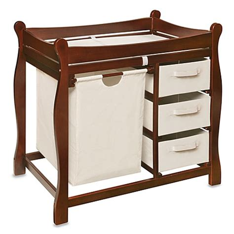 Changing Table With Baskets Badger Basket Sleigh Changing Table With Her And 3 Baskets In Cherry Bed Bath Beyond