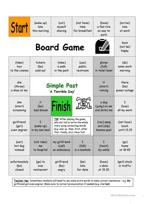 board game a terrible day simple past worksheet free