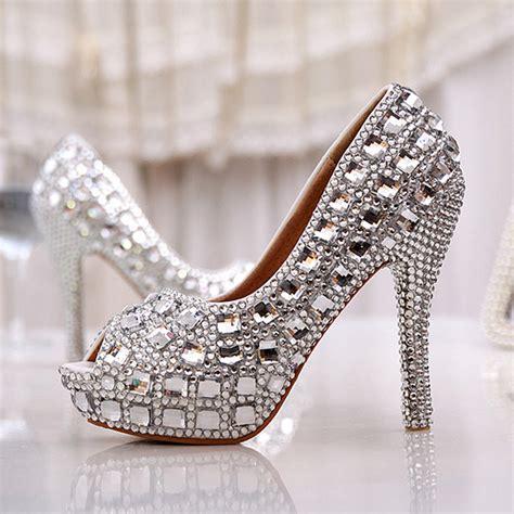 high heels with diamonds free shipping peep toe summer high heel wedding