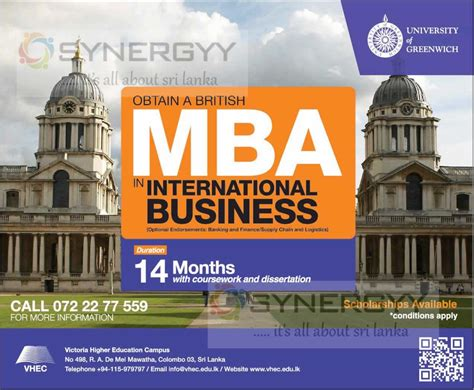 Greenwich Mba by Of Greenwich Mba In Sri Lanka Education Synergyy