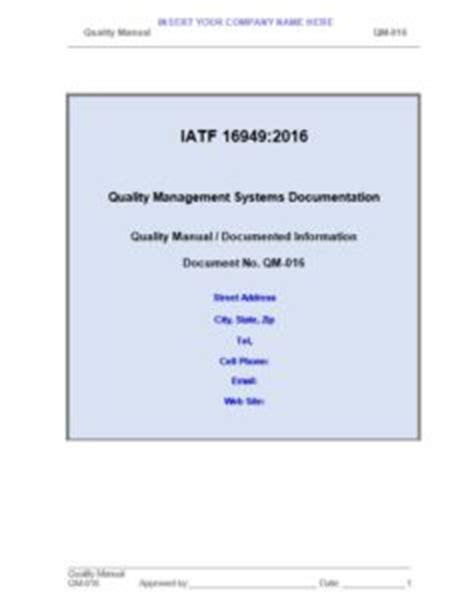 Iatf 16949 Quality Manual And Procedures Iatf 16949 Store Iatf 16949 Quality Manual Template
