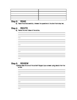 SQ3R Worksheet for Reading Newspaper Articles by Mrs H G | TpT