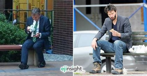 keanu bench photo of mathieson eating a sandwich alone ignites social