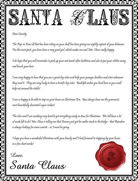 letter from santa printable editable new calendar