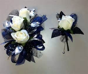 navy blue corsage navy blue black corsage boutonniere set white silk roses organza and metallic ribbons
