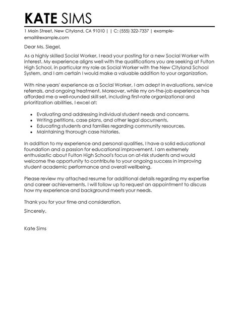 leading professional social worker cover letter example