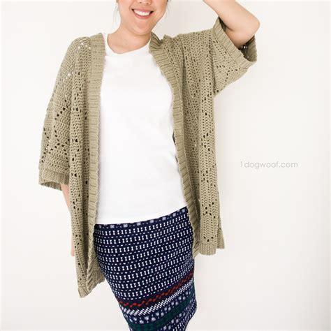 crochet pattern kimono sweater summer diamonds kimono cardigan one dog woof