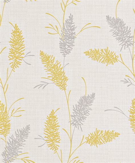 design house skyline yellow motif wallpaper vliestapete gelb grau blumen naturalia rasch 442526
